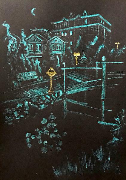 Larissa Lukaneva. P. Successful. Night boulevard. Sketch.
