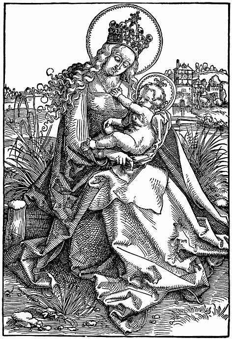Ханс Бальдунг. Мария с младенцем на дерновой скамье