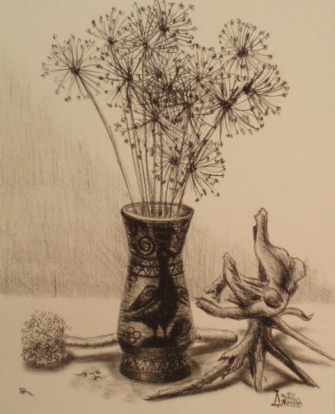 Larissa Lukaneva. Still life with dry rhizome...