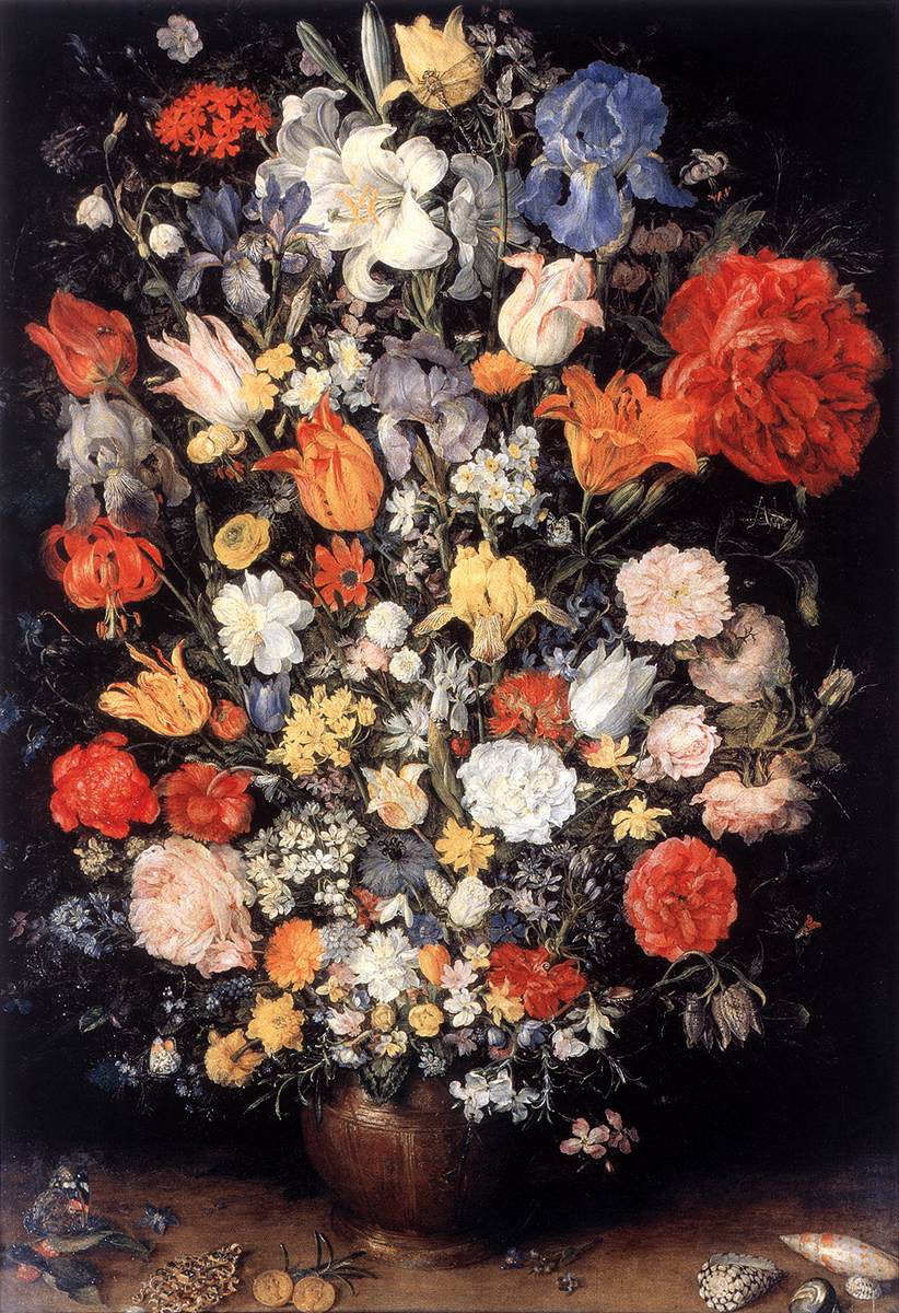 Jan Bruegel The Elder. Bouquet in a vase, coins and shells