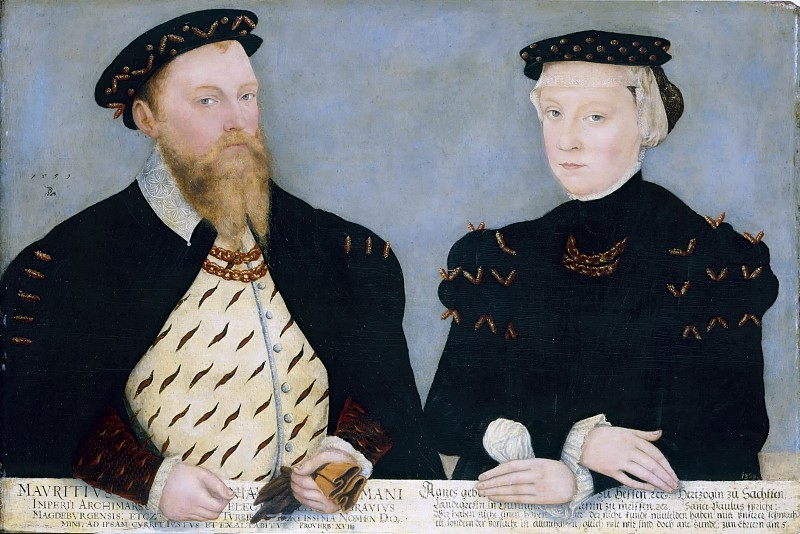 Lucas the Younger Cranach. Moritz, the Elector of Saxony, with his wife Agnes. Old Masters Picture Gallery, Dresden.