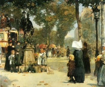Childe Hassam. Paris street scene