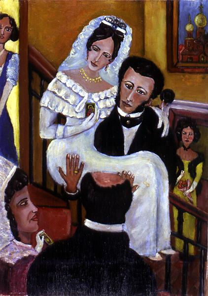 Vladimir Ivanovich Makarov. After the wedding. A.S. Pushkin with the bride