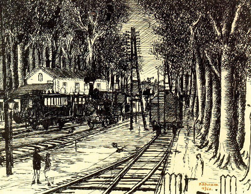 Paul Delvaux. Rails