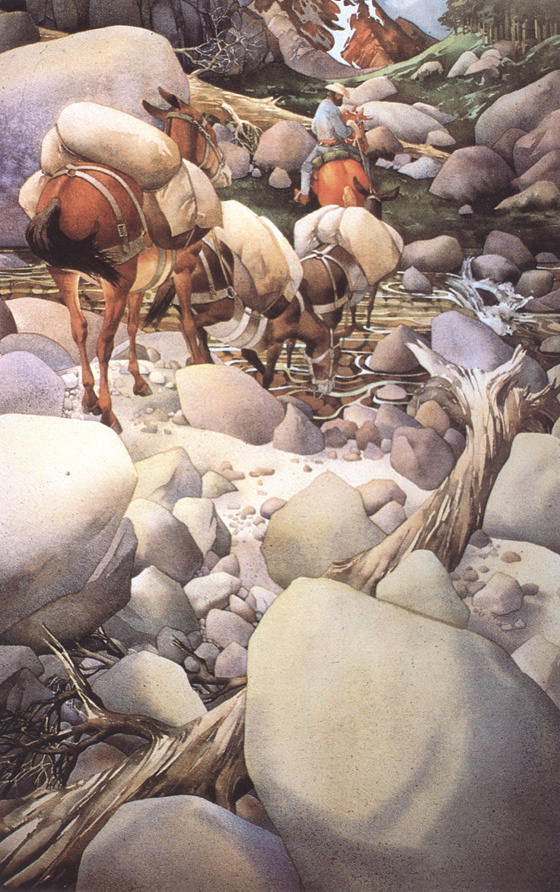 Bev Doolittle. The transition of the stream