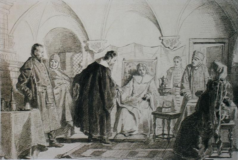 Николай Васильевич Неврев. Невеста царя Михаила Федоровича Мария Ивановна Хлопова. 1884