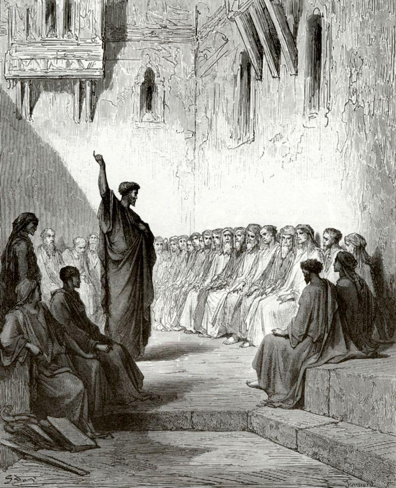 Поль Гюстав Доре. Апостол Павел в синагоге в Фессалонике