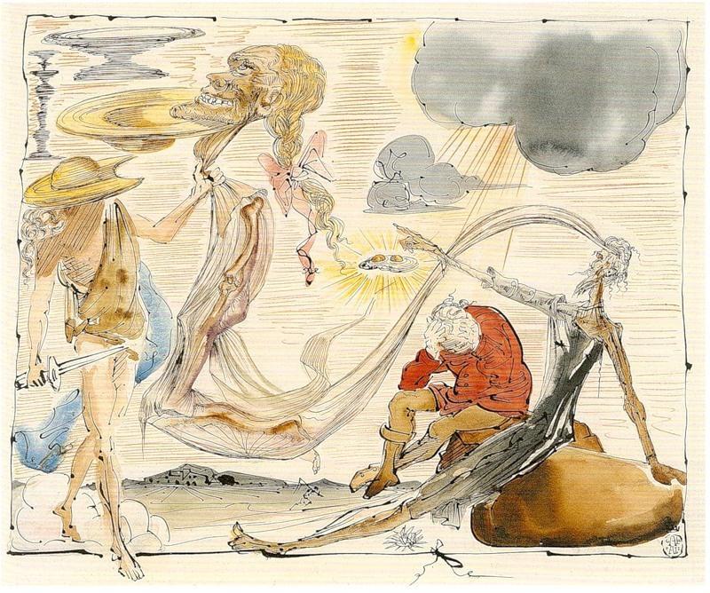 "Salvador Dali. Illustration for the novel ""don Quixote"""