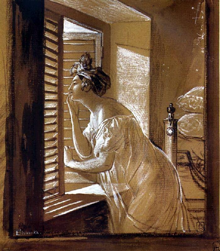 Карл Павлович Брюллов. Женщина, посылающая поцелуй из окна