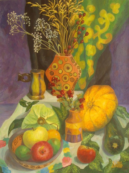 Larissa Lukaneva. Still life with pumpkin and dry Kalina