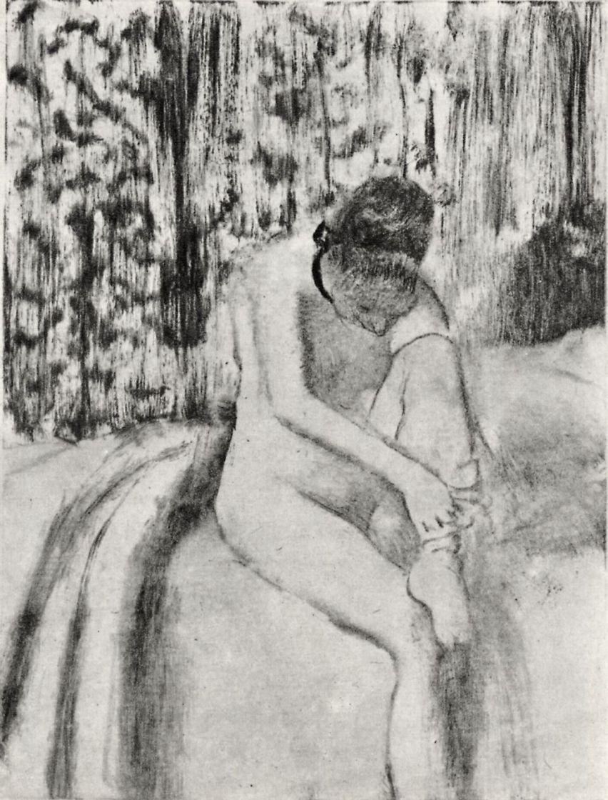 Edgar Degas. Woman putting on stocking