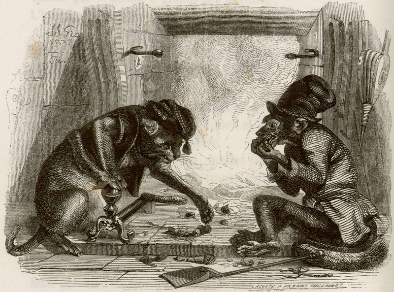 Jean Inias Isidore (Gerard) Granville. Monkey and Cat. Illustrations to the fables of Jean de Lafontaine