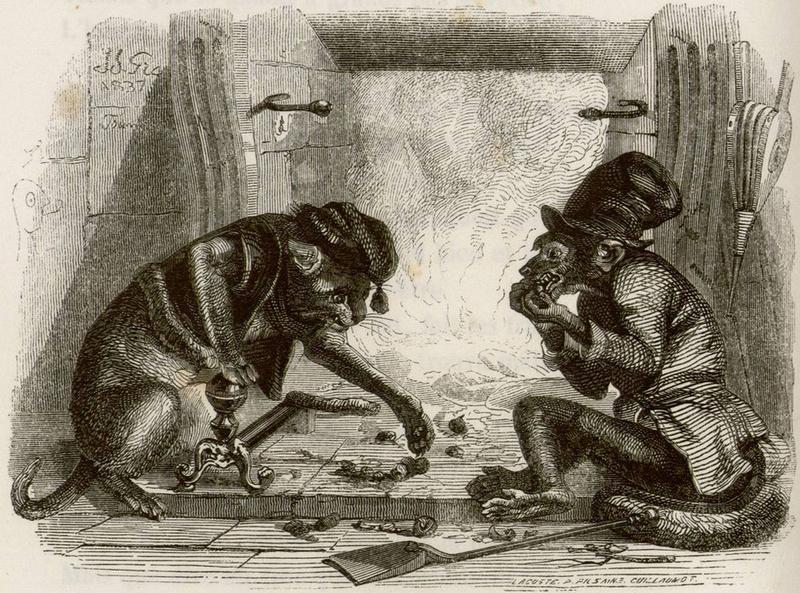 Жан Иньяс Изидор (Жерар) Гранвиль. Обезьяна и Кошка. Иллюстрации к басням Жана де Лафонтена