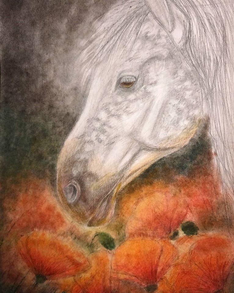 Julia Sergeevna Bochkareva. Horse and poppies