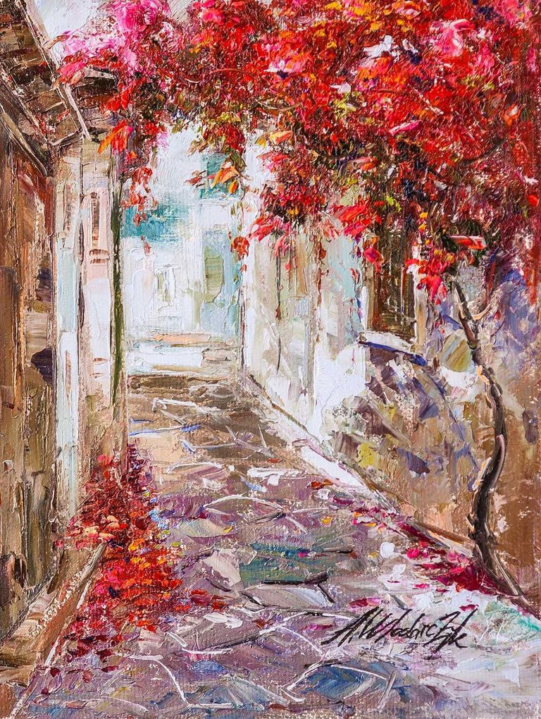 """Andrzej Vlodarczyk. Oil painting """"Walking along the narrow streets"""""""