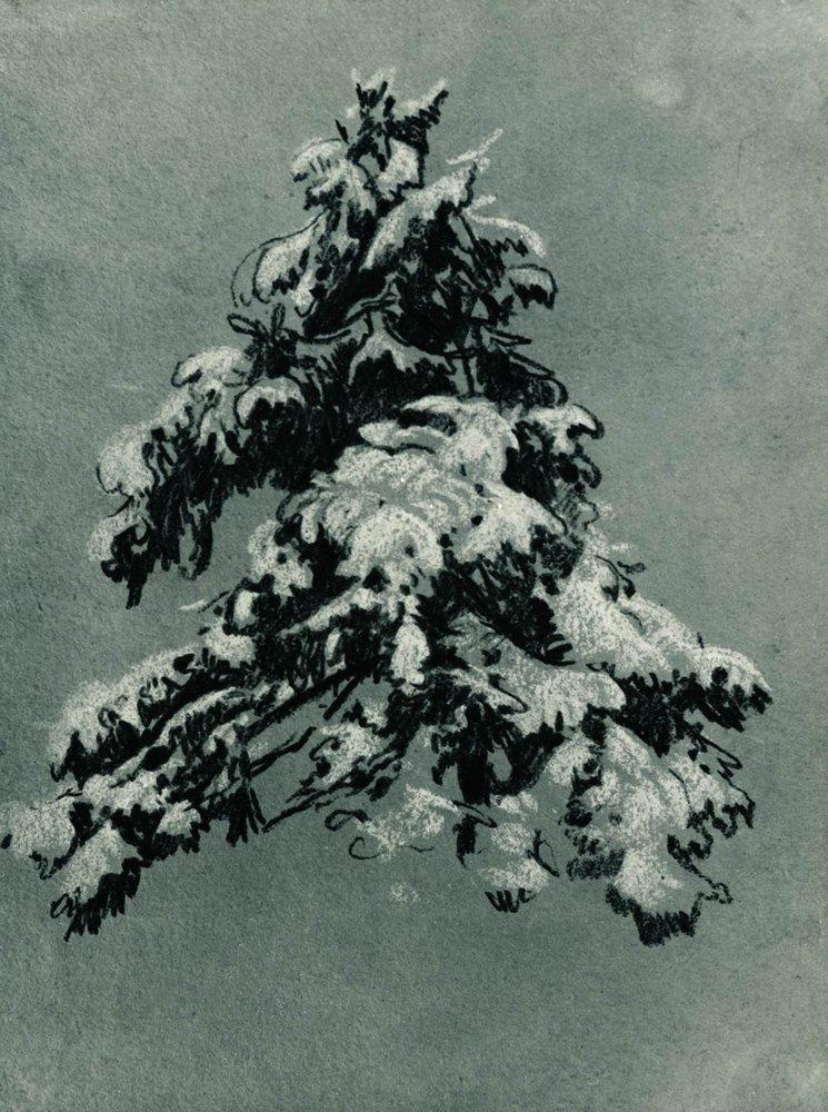 """Иван Иванович Шишкин. Сосна под снегом. Этюд к картине """"На севере диком..."""""""