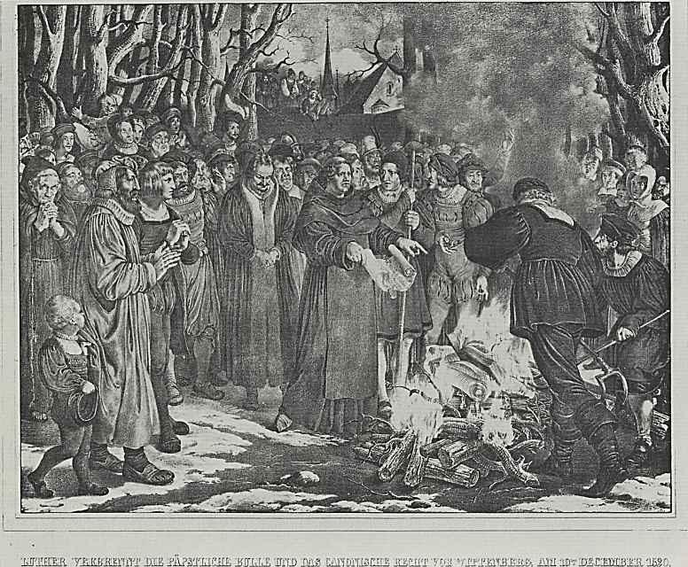 """Адольф фон Менцель. Иллюстрации к книге """"Жизнь Лютера"""", Лютер сжигает папскую буллу и каноническое право"""