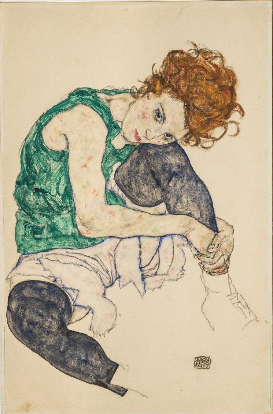 Egon Schiele. Seated woman with bent knee