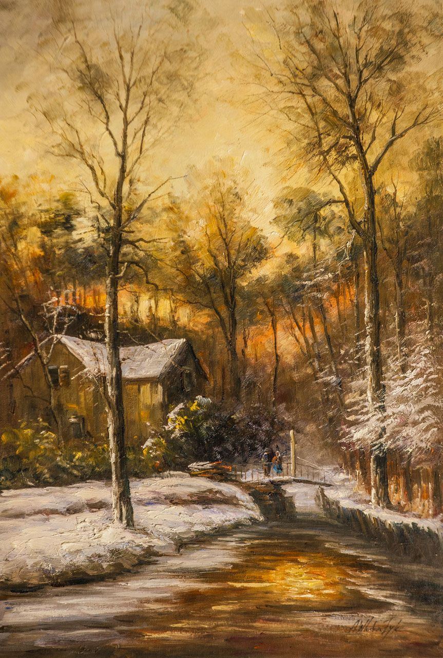 Andrzej Vlodarczyk. Winter landscape. In the golden rays of the sunset