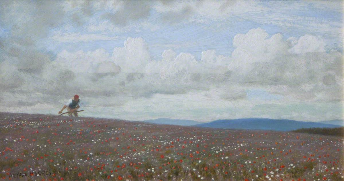 Arthur Hughes. Mower on the poppy field
