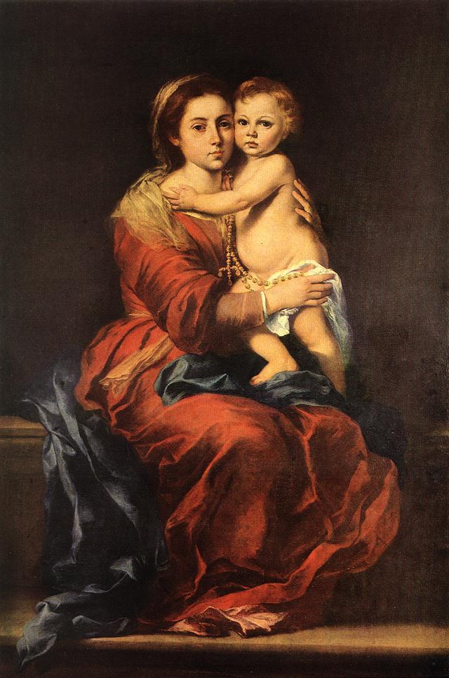 Бартоломе Эстебан Мурильо. Дева с младенцем и Розария