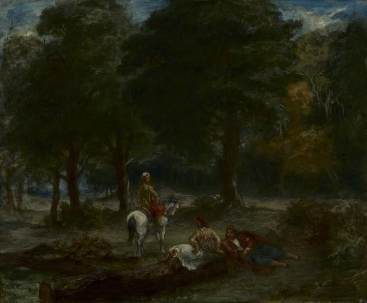 Eugene Delacroix. Greek horsemen resting in the forest