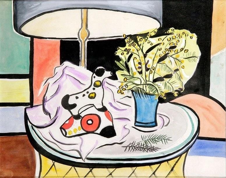 Nadezhda Petrovna Leger (Khodosevich). Натюрморт с цветами и фигуркой собаки