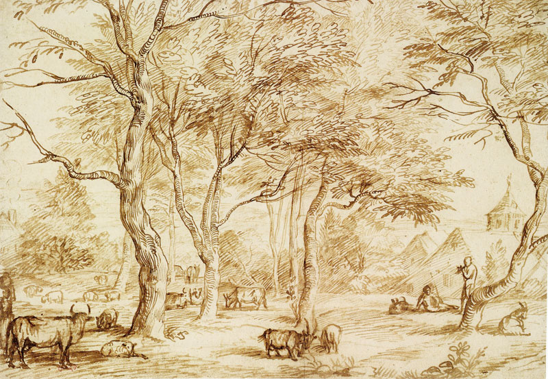 Ян Ливенс. Лесной пейзаж с деревней и стадом