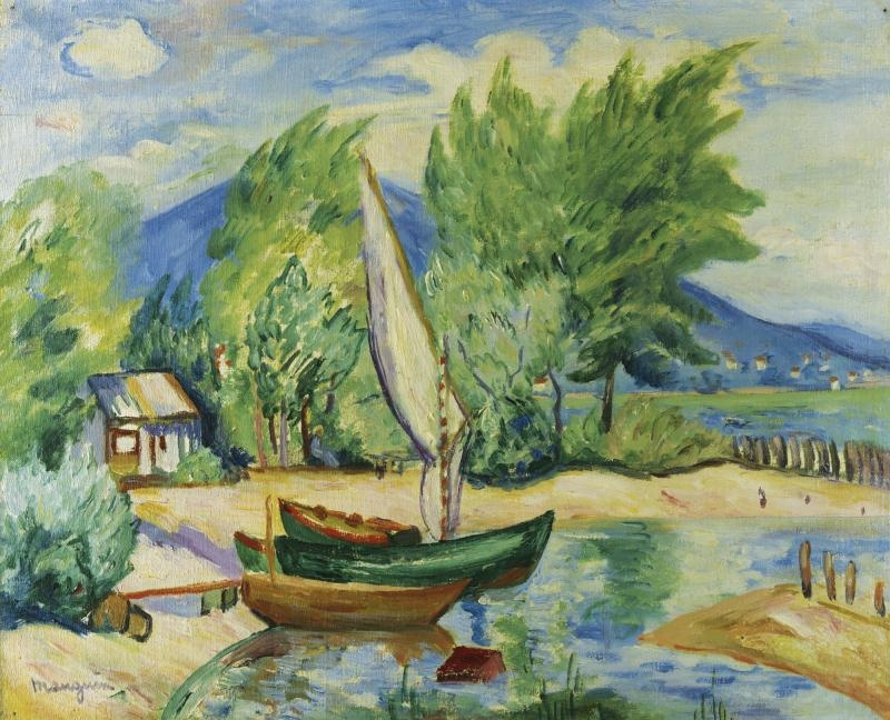 Henri Manguin. Boat with a white sail, Colombier
