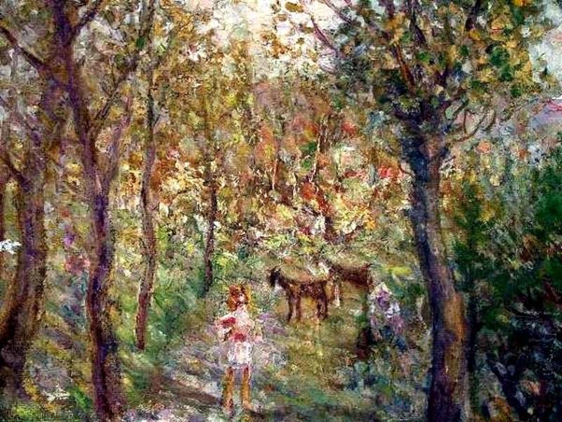 Михаил Федорович Ларионов. Девочки с козами в лесу