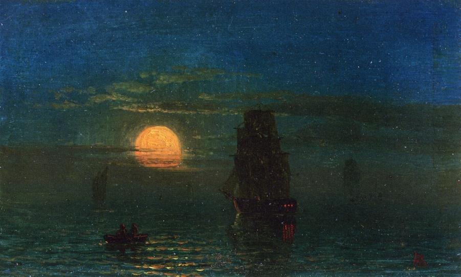 Альберт Бирштадт. Корабли в лунном свете