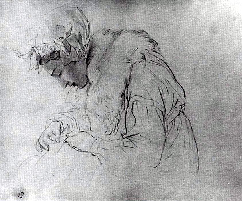 Карл Павлович Брюллов. Портрет молодой женщины за вышиванием. Лист из альбома