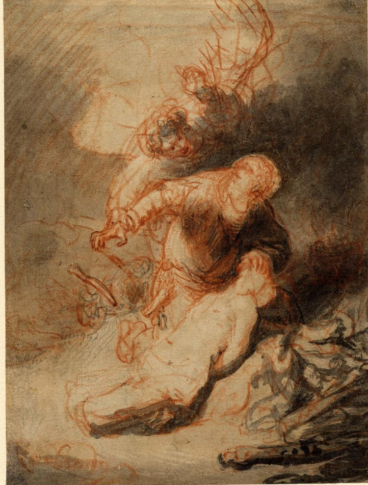 Rembrandt Harmenszoon van Rijn. The Angel preventing Abraham from sacrificing his son, Isaac
