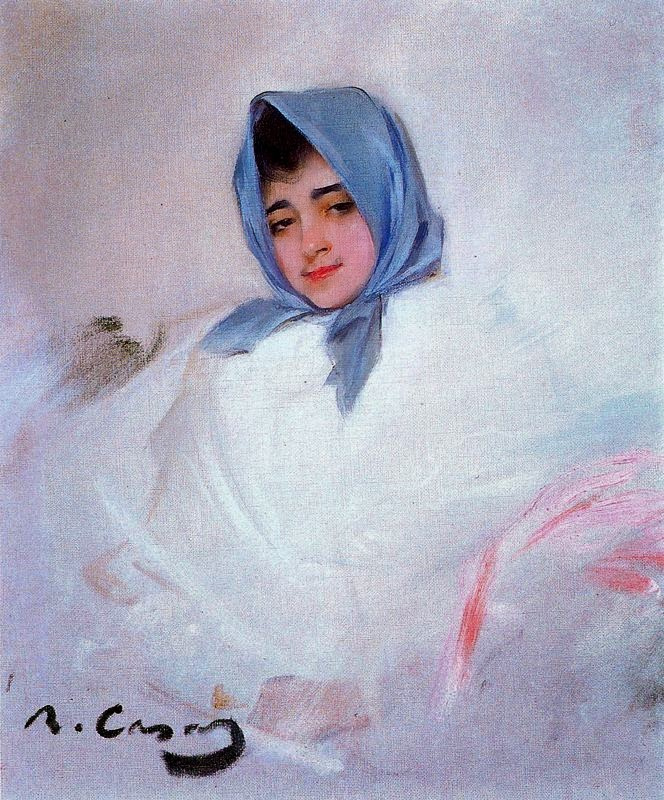 Ramon Casas i Carbó. Girl in a blue scarf