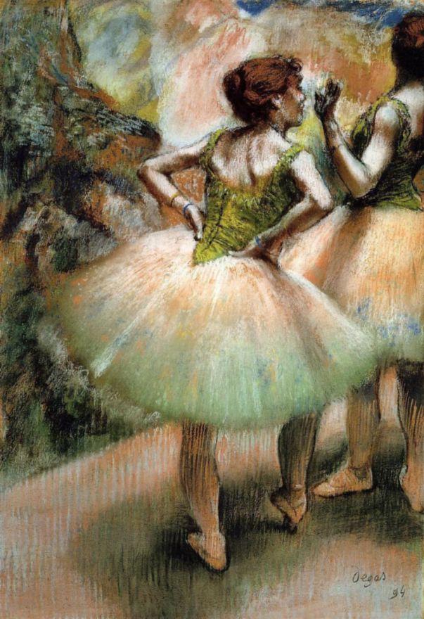 Edgar Degas. Ballerina in pink and green