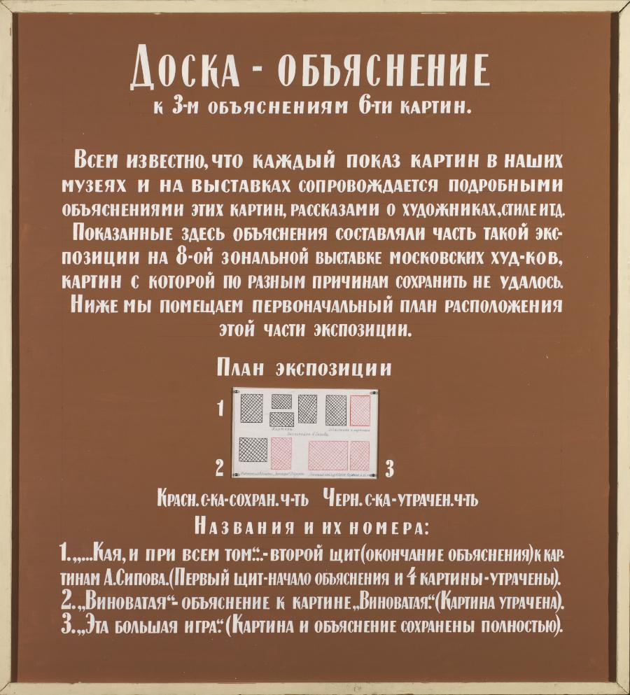 Ilya Iosifovich Kabakov. Explanation board to the three explanations of six paintings