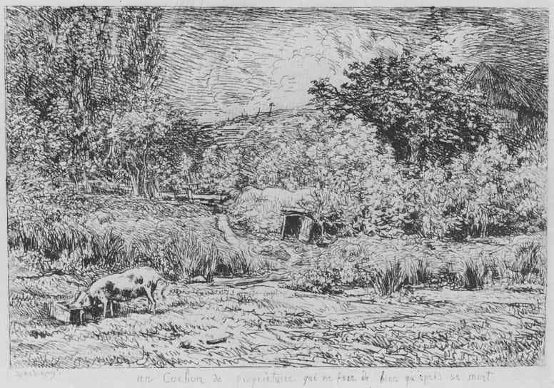 Шарль-Франсуа Добиньи. Свинья во фруктовом саду