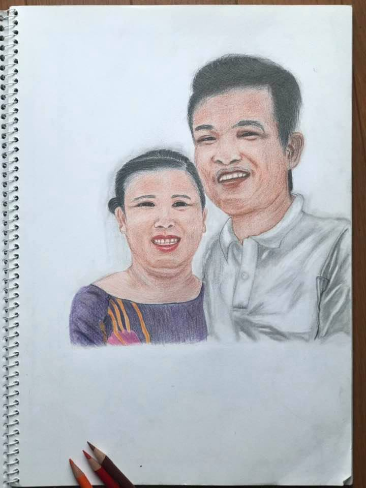 Anh Vong. Drawing of mom and dad