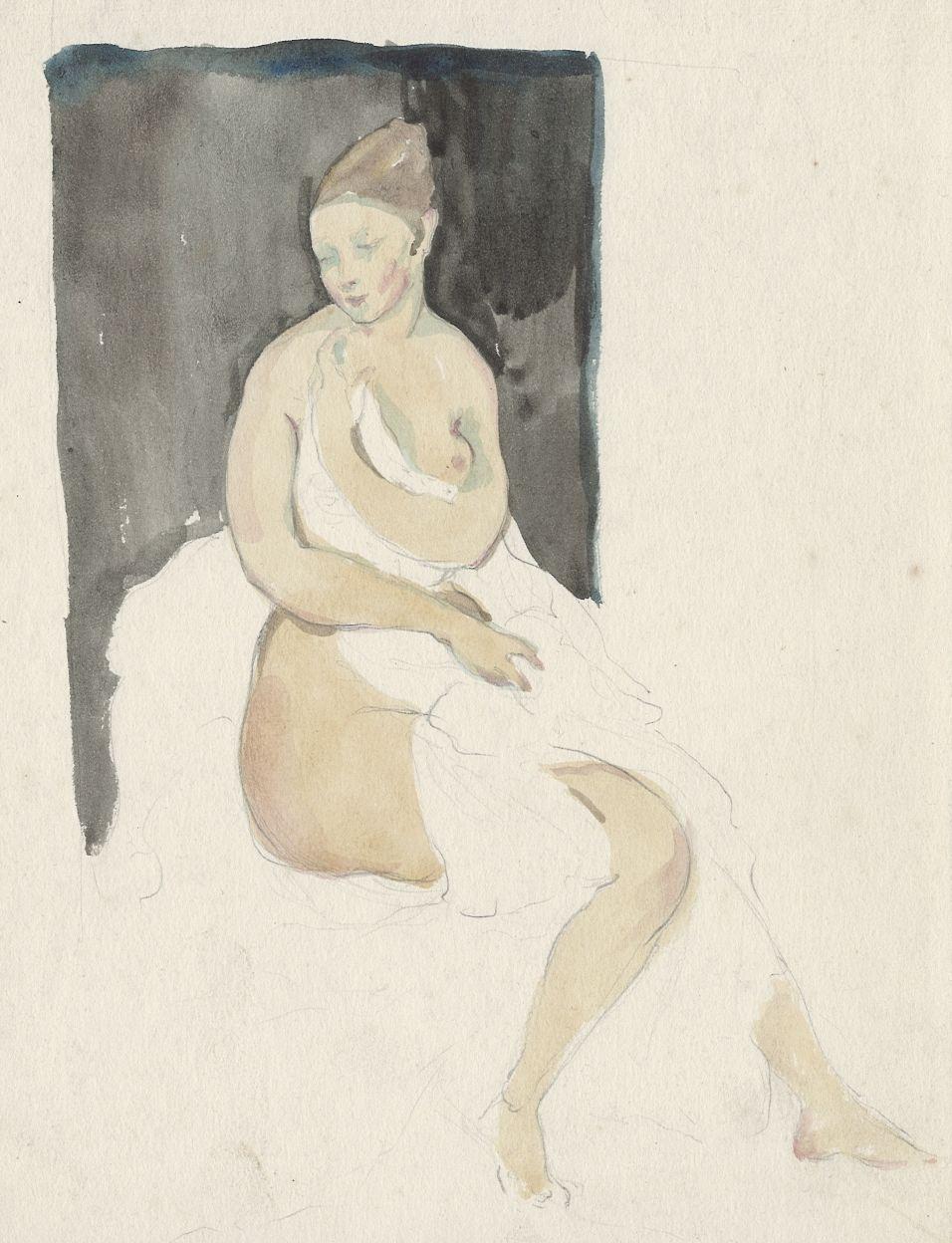 Natalia Nikolaevna Agapieva - Zakharova. Female portrait. Bather on a black background.