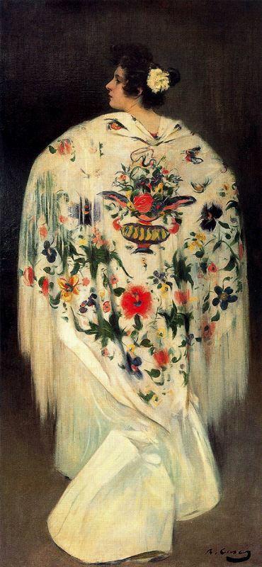 Рамон Касас Карбо. Женщина с шалью (Перед посещением боя быков)