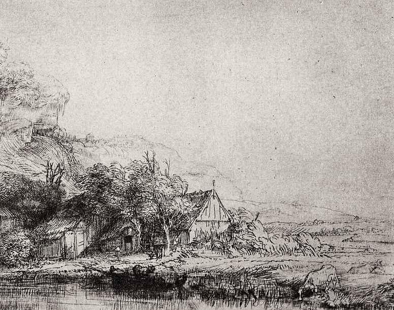 Рембрандт Ван Рейн. Пейзаж с пасущейся коровой