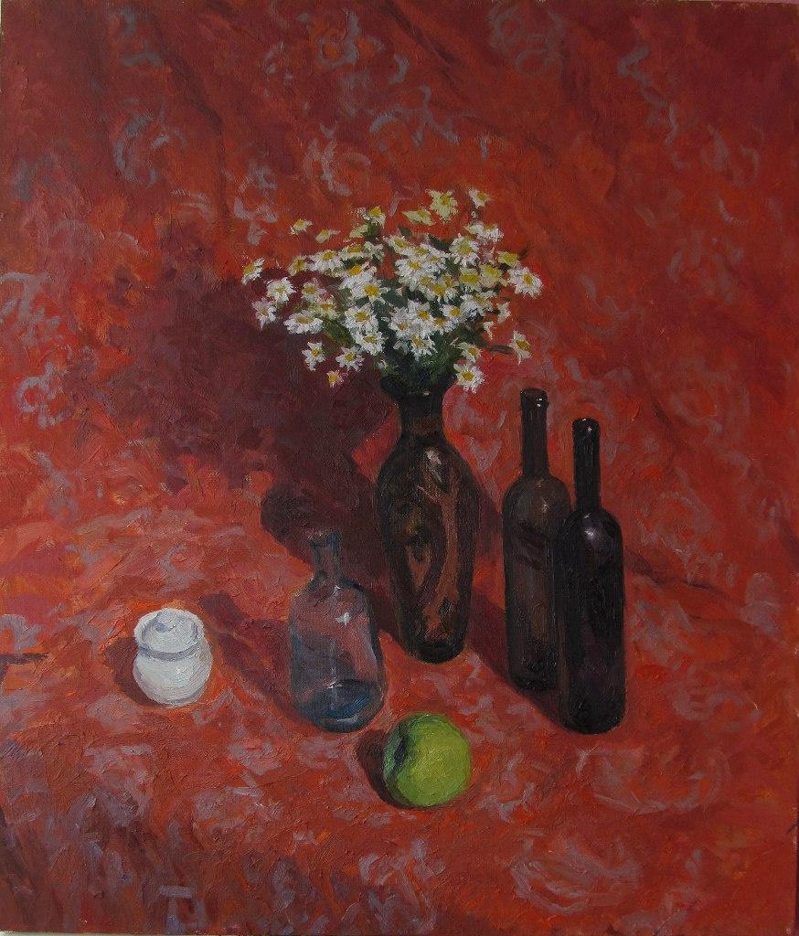 "Igor Semelin. ""Still Life with Daisies on Red"""