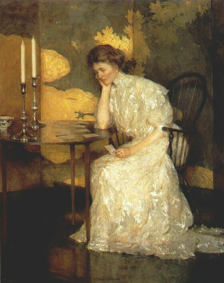 Frank Weston Benson. Girl playing solitaire