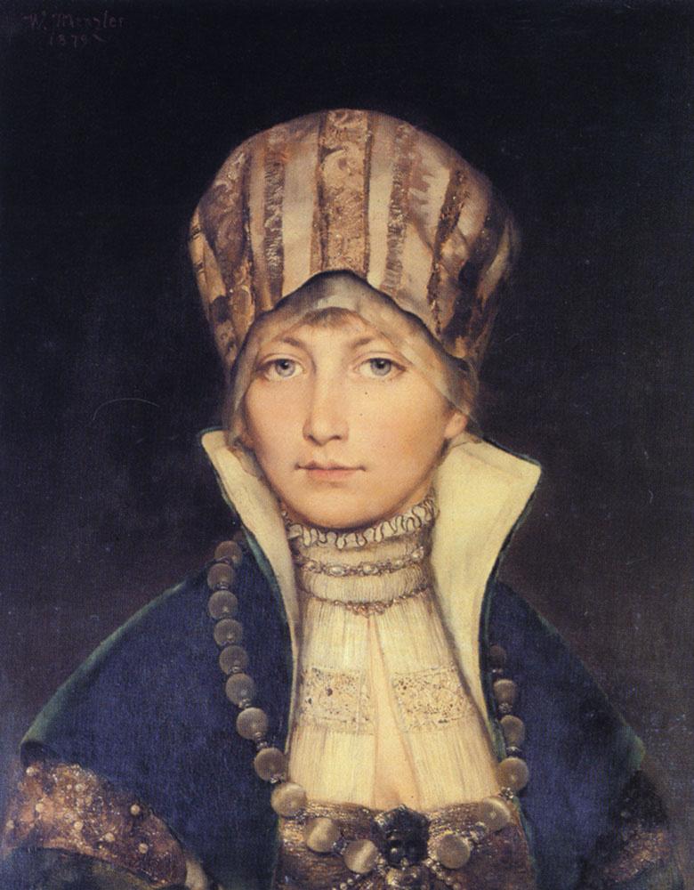 Wilhelm Menzler. Portrait of a girl in a cap