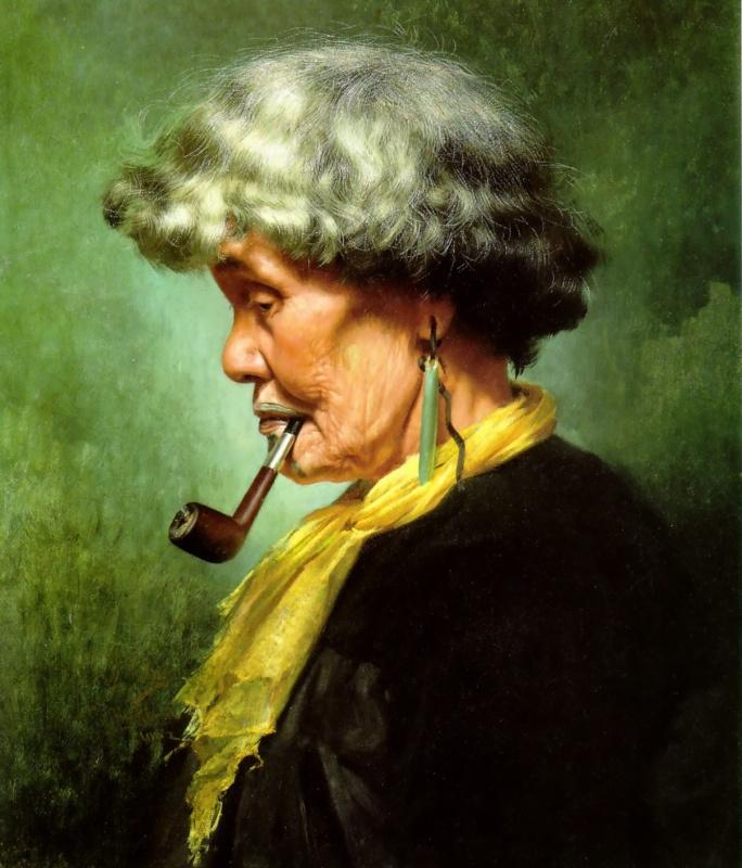 Чарльз Голди. Женщина курит трубку