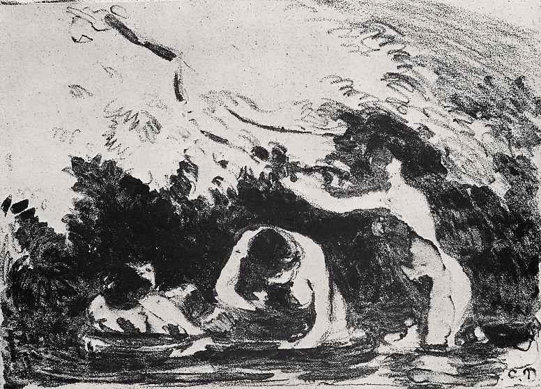 Камиль Писсарро. Купальщицы в тени заросшего деревьями берега