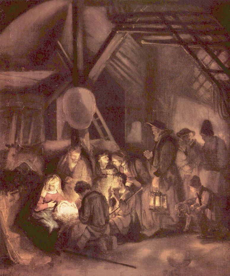 Рембрандт Ван Рейн. Поклонение пастухов
