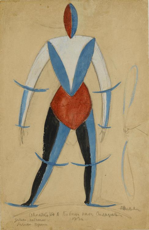 "Kazimir Malevich. Aviator. Costume design in the Opera ""victory over the Sun"""