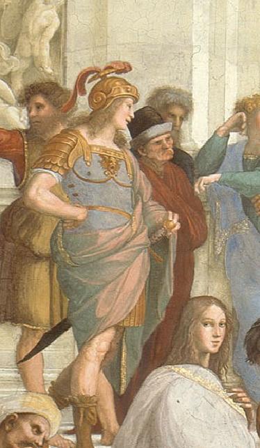 "Raphael Sanzio. The stanza della senyatura. The fresco ""the school of Athens"". Snippet: Alexander the Great (Alcibiades) and Xenophon (Antisthenes)"