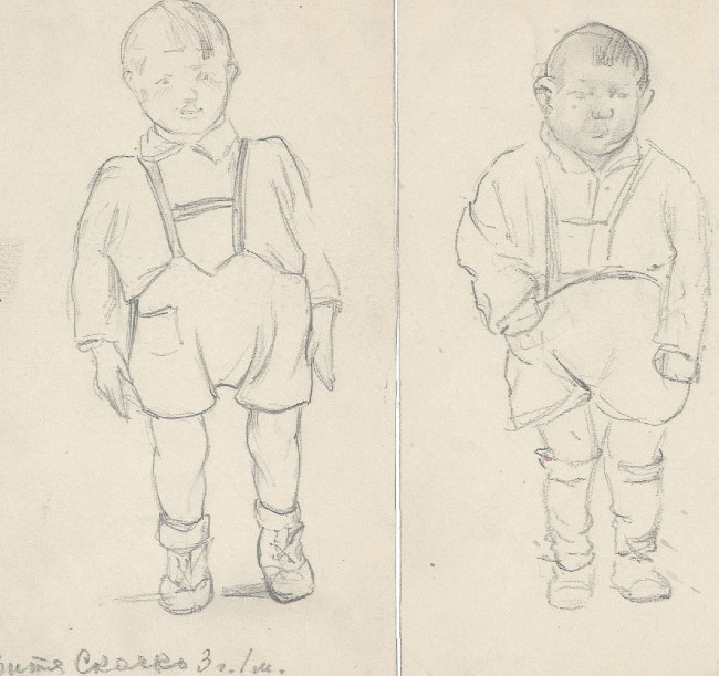 Natalia Nikolaevna Agapieva - Zakharova. Children's portraits. Kids in shorts.